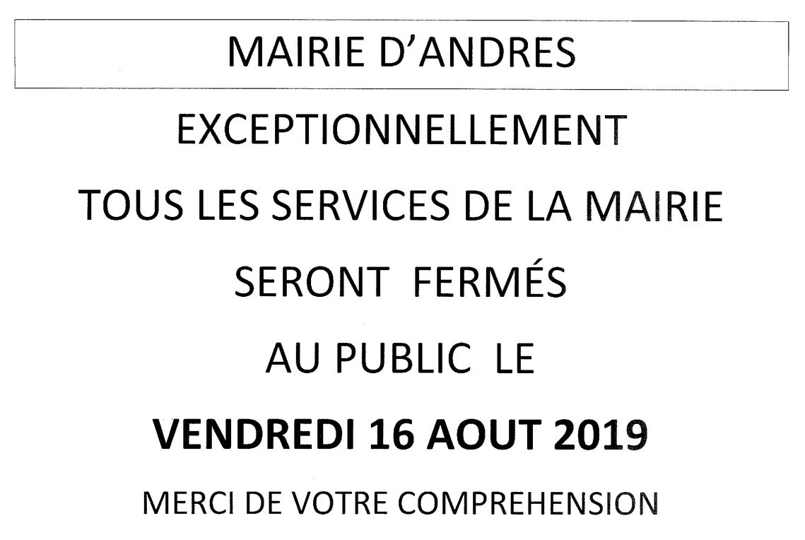 Fermeture mairie 16 aout 19 1 of 1